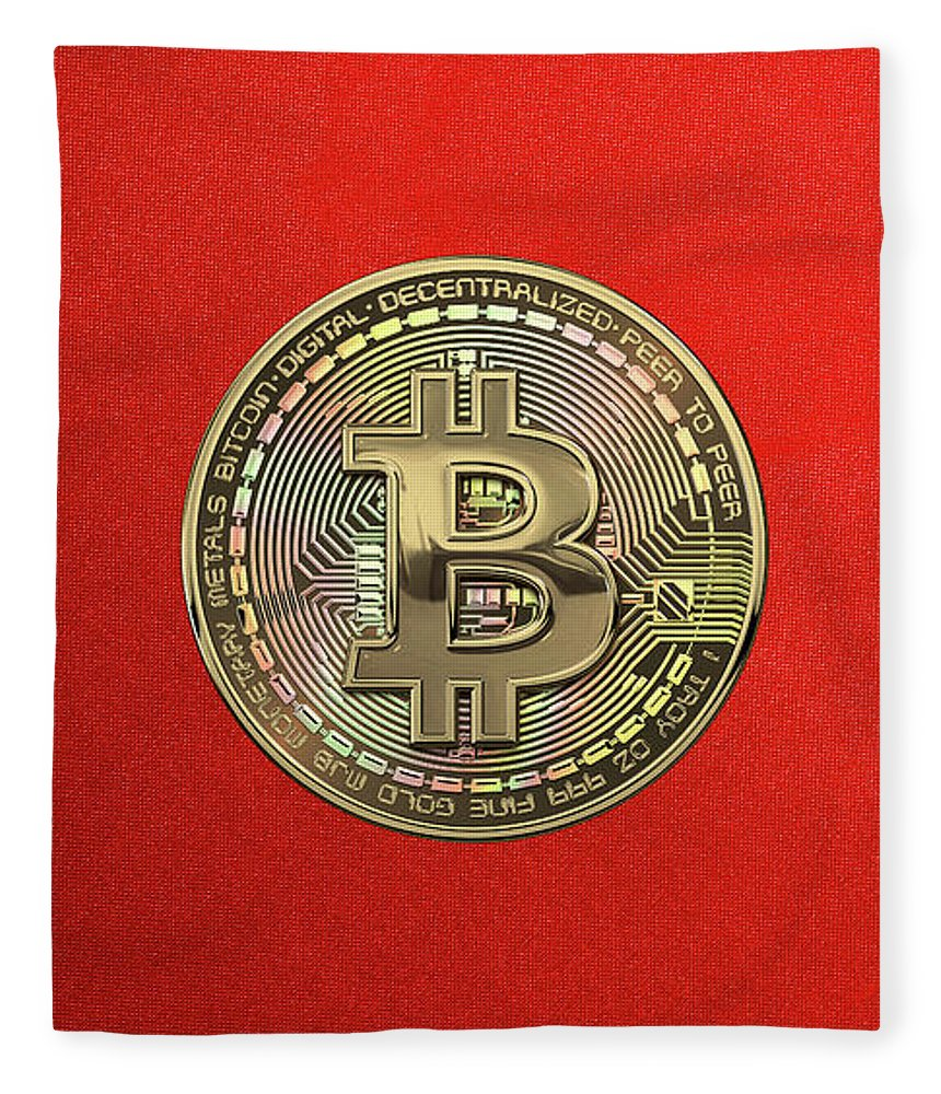 'money' Collection By Serge Averbukh Fleece Blanket featuring the photograph Gold Bitcoin Effigy Over Red Canvas by Serge Averbukh