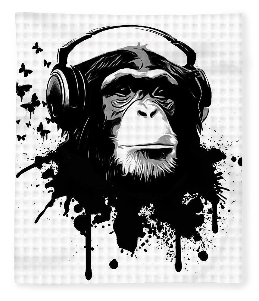 Ape Fleece Blanket featuring the digital art Monkey Business by Nicklas Gustafsson