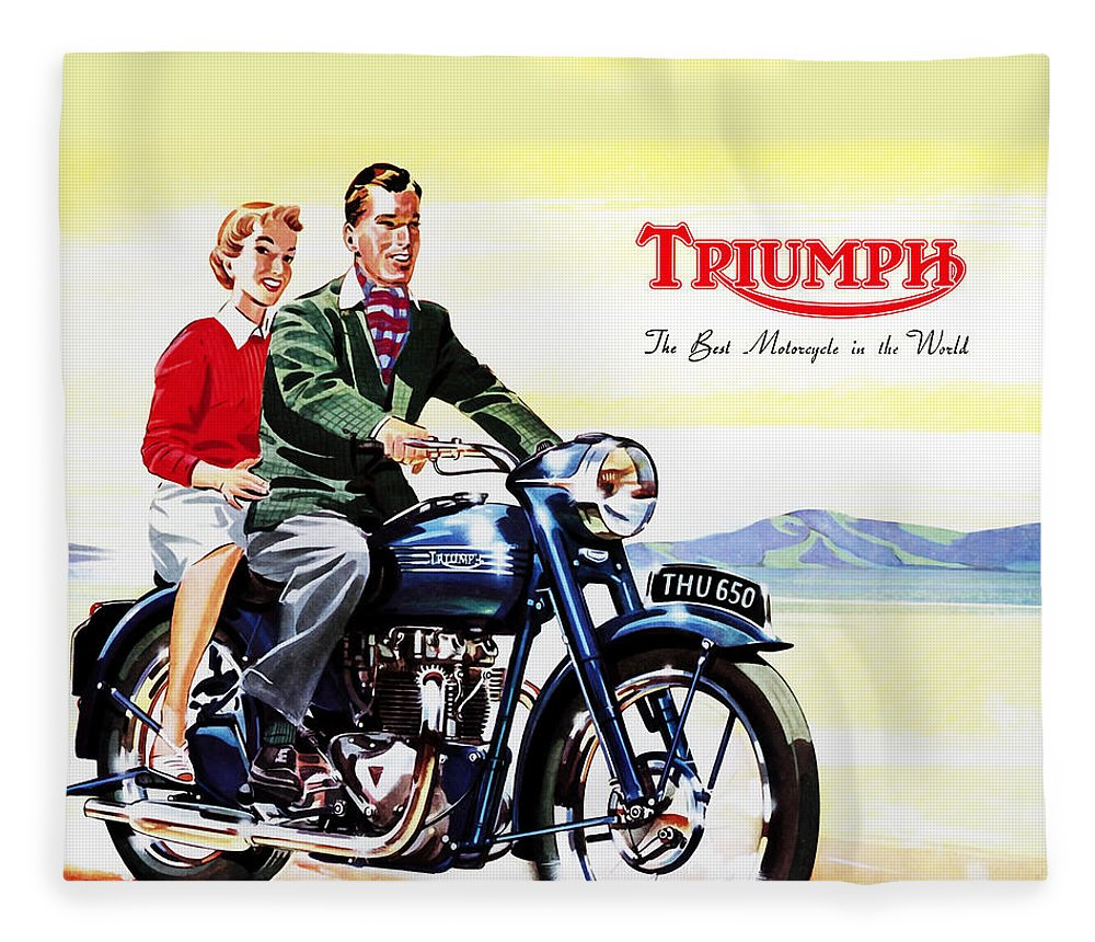 Vintage Motorcycle Fleece Blanket featuring the photograph Triumph 1953 by Mark Rogan