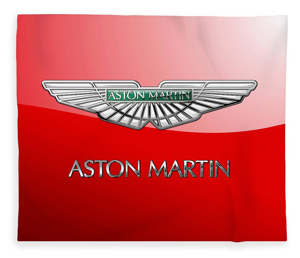 Wheels Of Fortune� Collection By Serge Averbukh Fleece Blanket featuring the photograph Aston Martin - 3 D Badge on Red by Serge Averbukh
