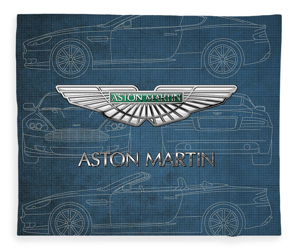 Wheels Of Fortune By Serge Averbukh Fleece Blanket featuring the photograph Aston Martin 3 D Badge over Aston Martin D B 9 Blueprint by Serge Averbukh
