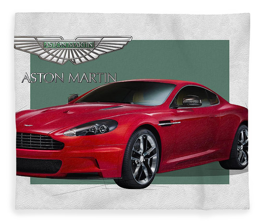 �aston Martin� By Serge Averbukh Fleece Blanket featuring the photograph Aston Martin D B S V 12 with 3 D Badge by Serge Averbukh