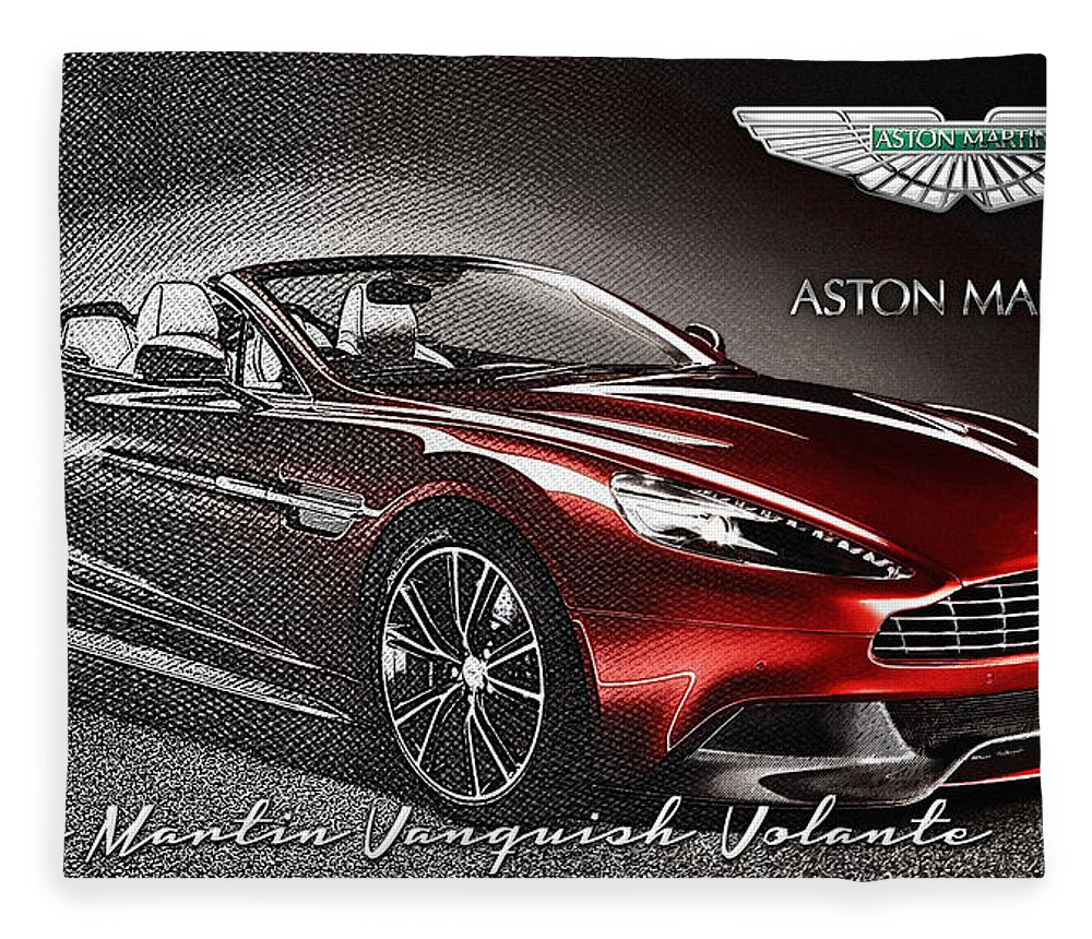 �wheels Of Fortune� Collection By Serge Averbukh Fleece Blanket featuring the photograph Aston Martin Vanquish Volante by Serge Averbukh