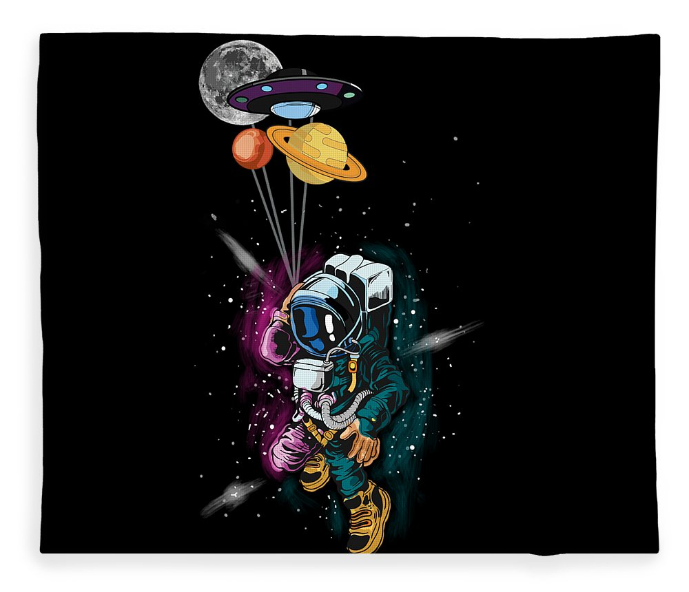 Galaxy Fleece Blanket featuring the digital art Astronaut Ufo Balloon Outer Space Shuttle by Thomas Larch