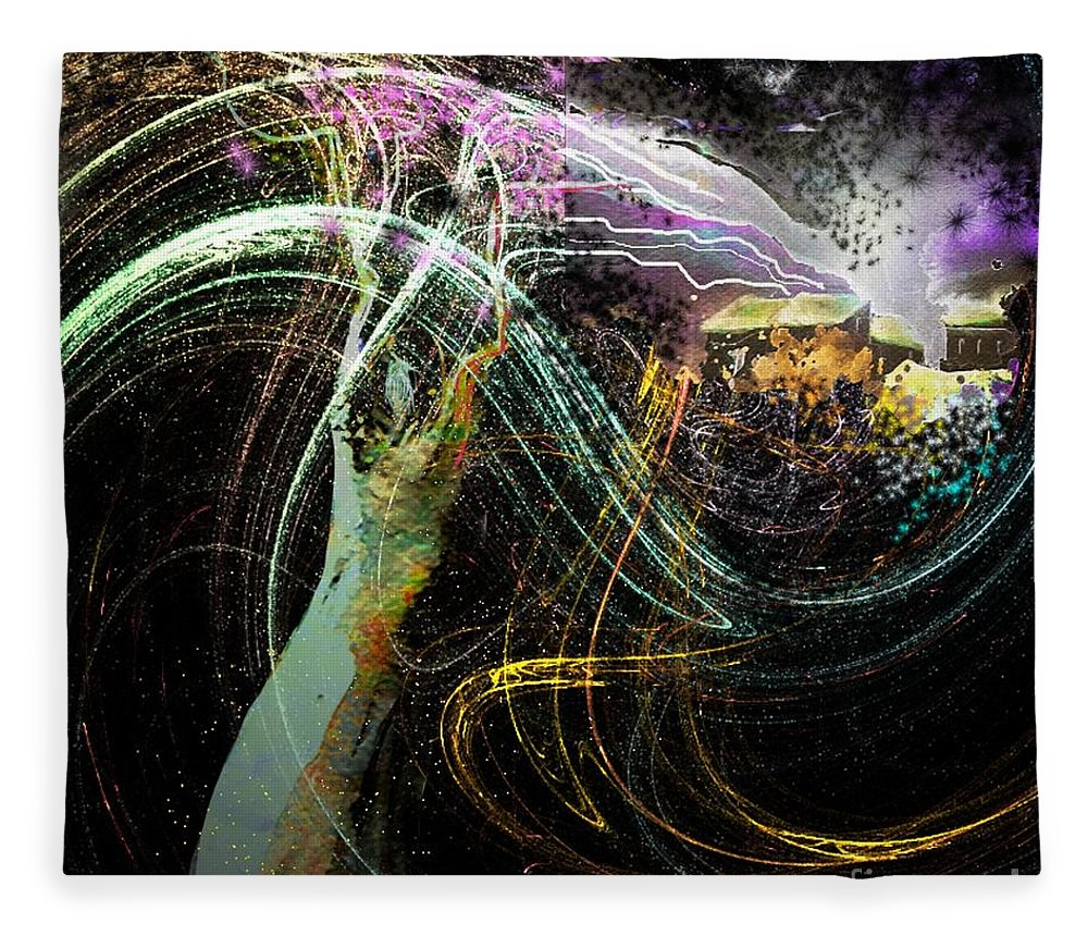 Fantasy Fleece Blanket featuring the painting At The End of The Cosmos by Miki De Goodaboom