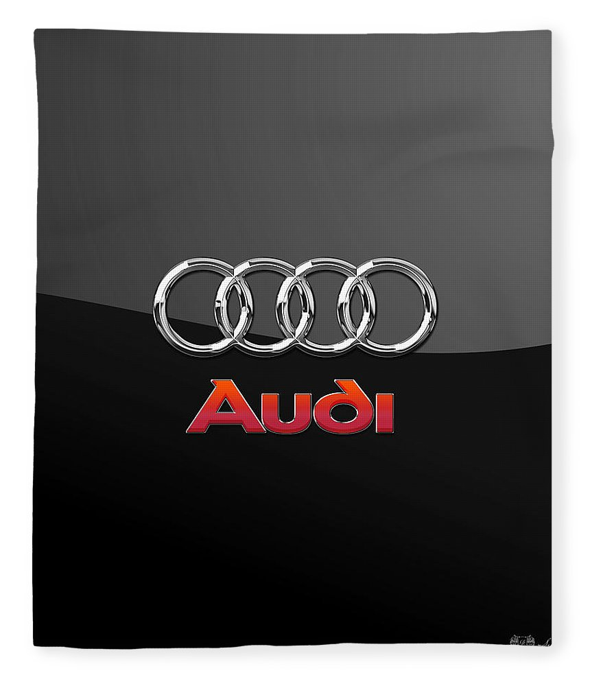 'wheels Of Fortune' Collection By Serge Averbukh Fleece Blanket featuring the photograph Audi 3 D Badge On Black by Serge Averbukh