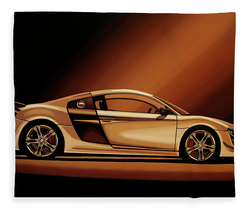 Audi R8 Fleece Blanket featuring the painting Audi R8 2007 Painting by Paul Meijering