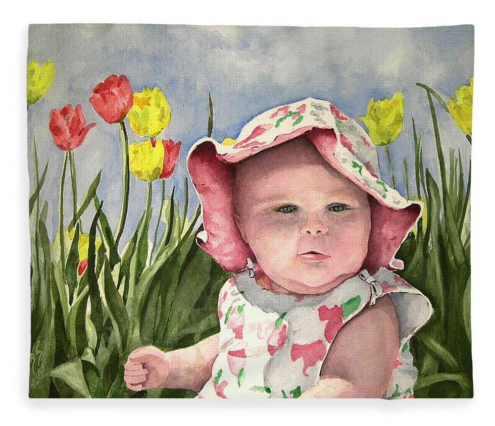 Kids Fleece Blanket featuring the painting Audrey by Sam Sidders