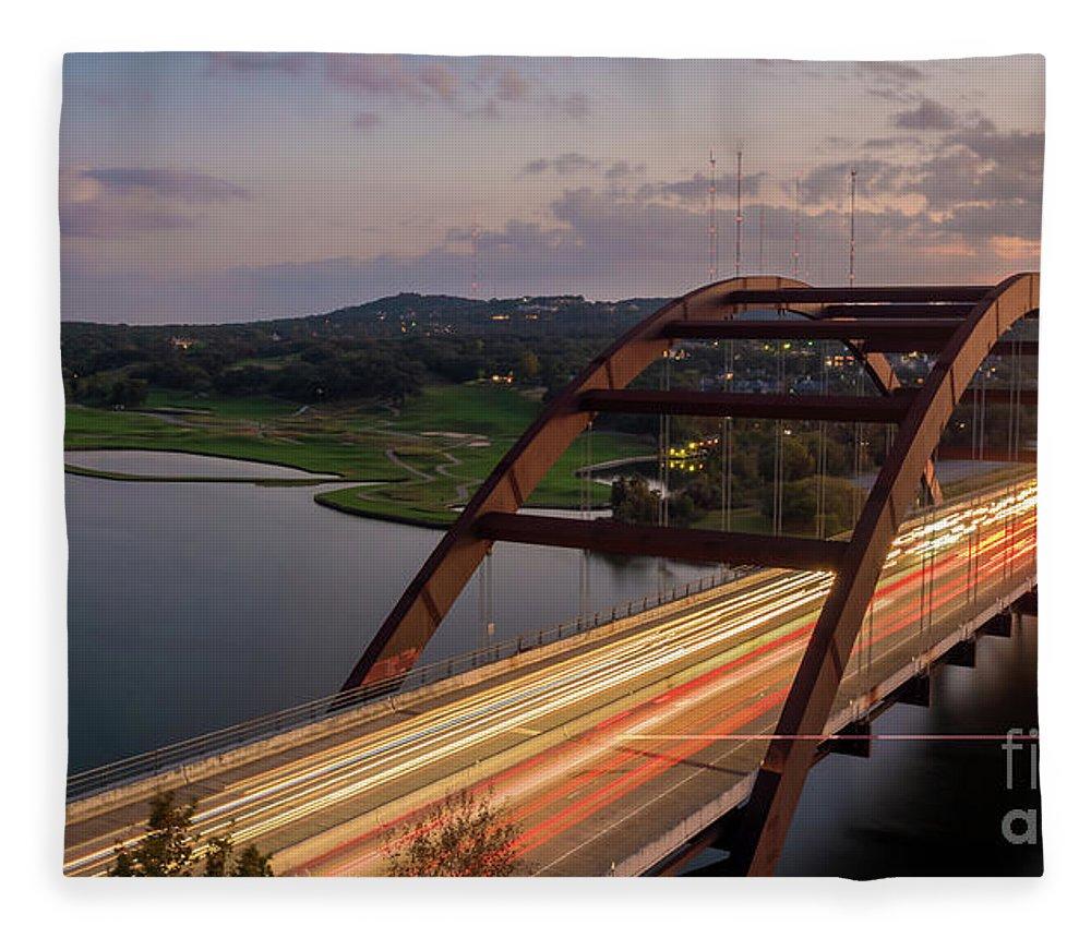 Austin Fleece Blanket featuring the photograph Austin 360 Bridge At Night by PorqueNo Studios