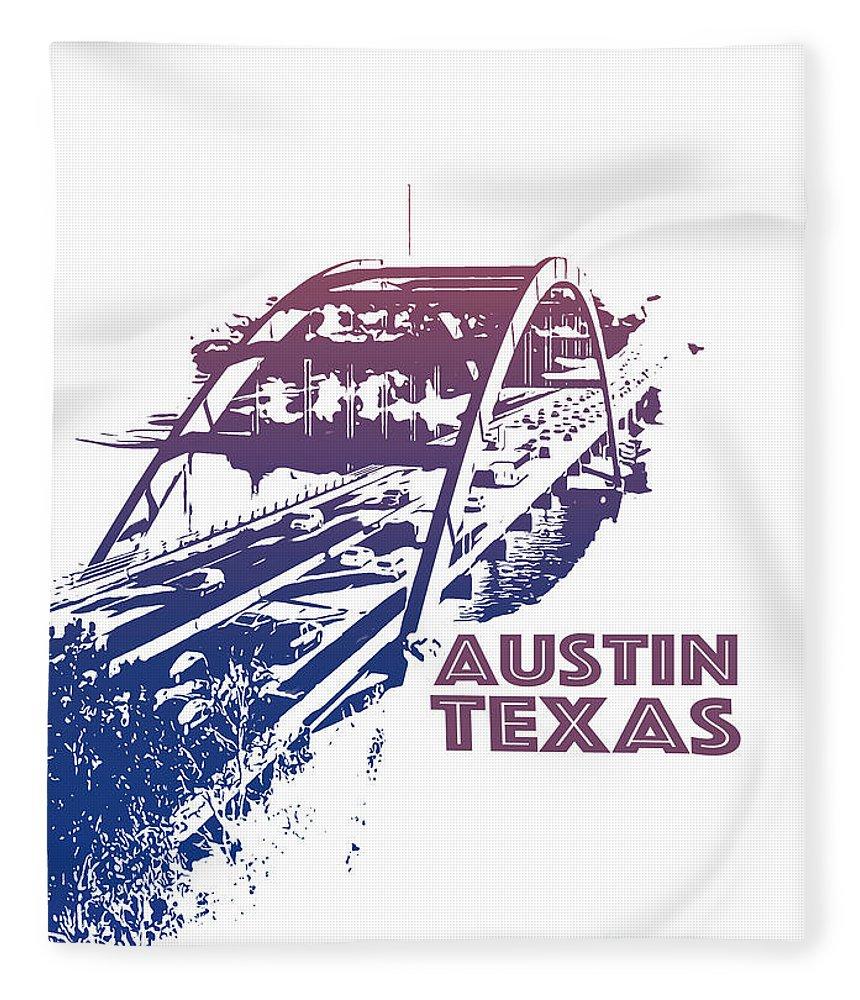 Austin 360 Bridge Fleece Blanket featuring the photograph Austin 360 Bridge, Texas by PorqueNo Studios