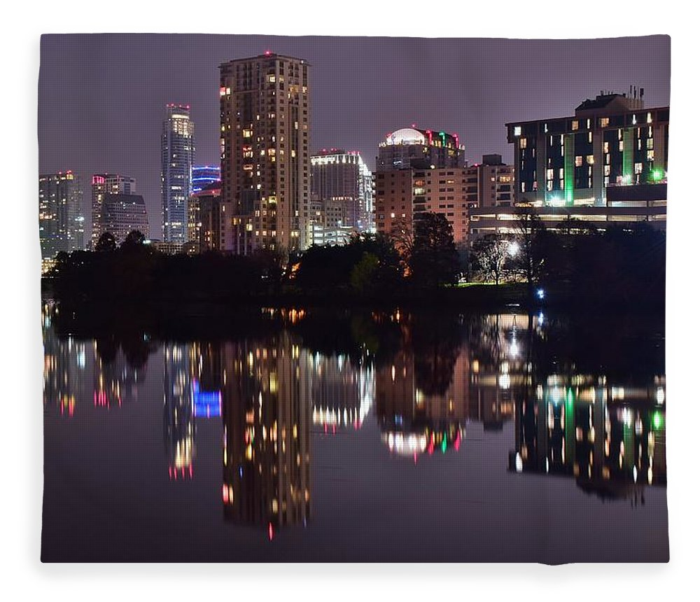 Austin Fleece Blanket featuring the photograph Austin Lights Up Lady Bird Lake by Frozen in Time Fine Art Photography