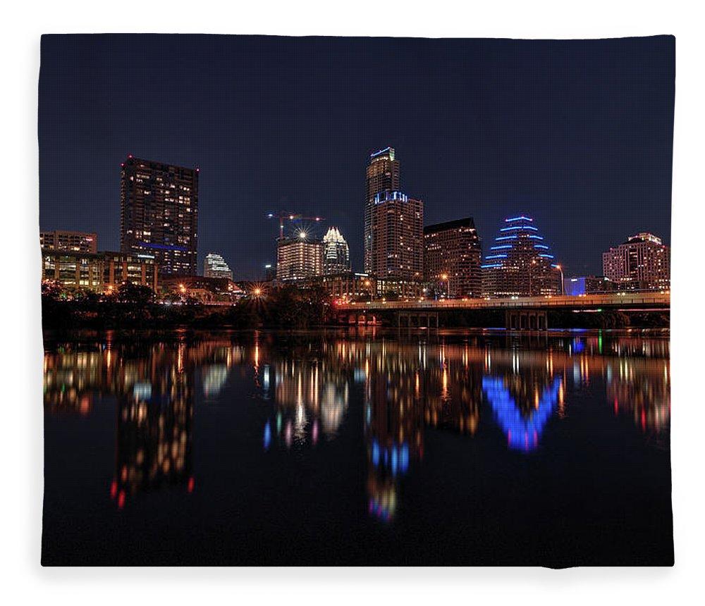 Austin Fleece Blanket featuring the photograph Austin Skyline At Night by Todd Aaron