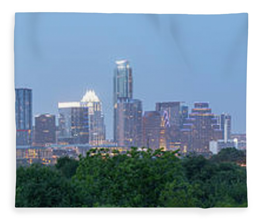 Austin Fleece Blanket featuring the photograph Austin Texas Building Skyline After The The Lights Are On by PorqueNo Studios