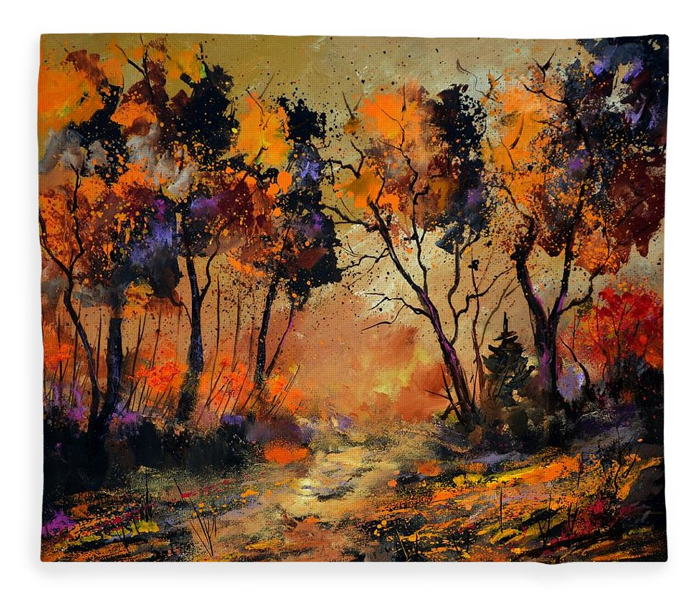 Landscape Fleece Blanket featuring the painting Autumn 766130 by Pol Ledent