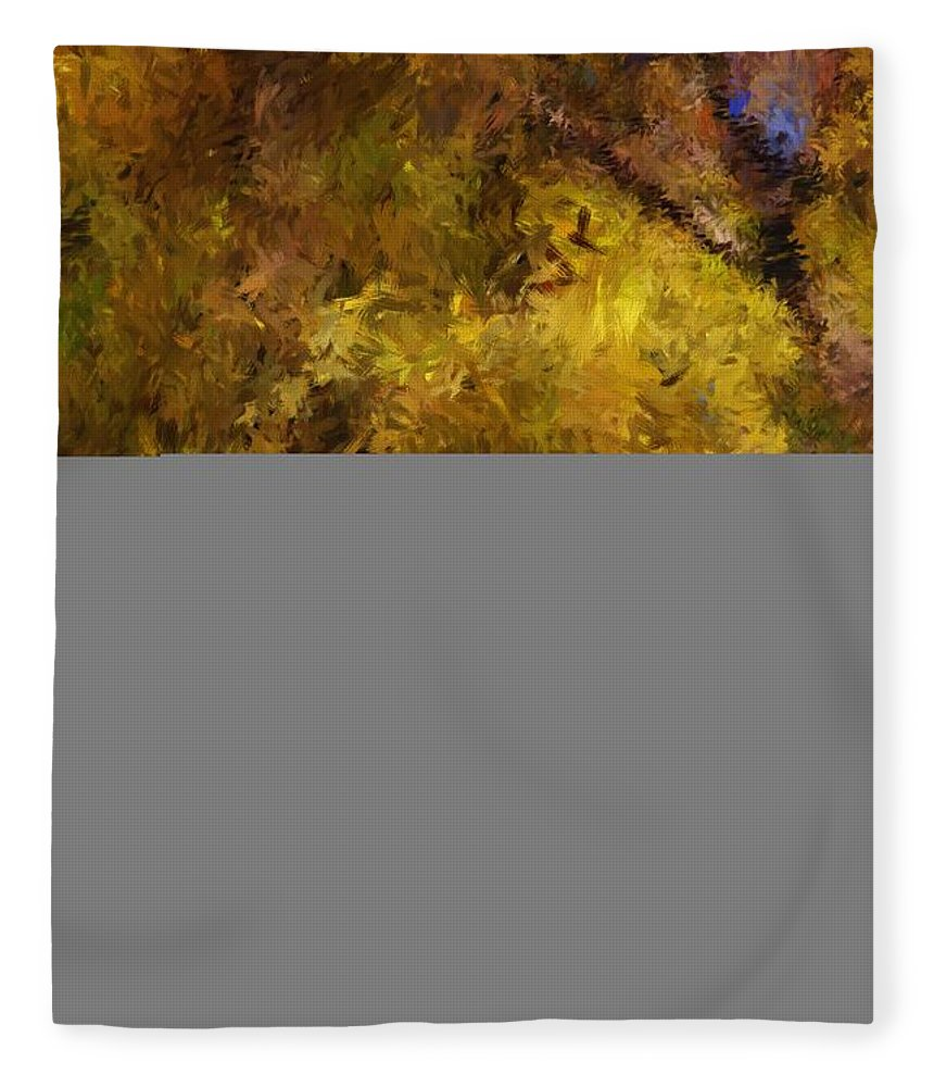 Abstract Digital Painting Fleece Blanket featuring the digital art Autumn Abstract by David Lane