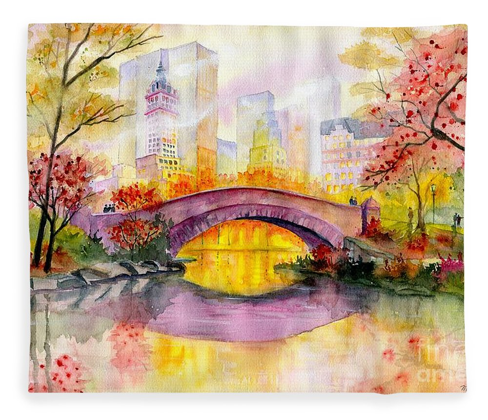 Autumn At Gapstow Bridge Central Park Fleece Blanket featuring the painting Autumn at Gapstow Bridge Central Park by Melly Terpening