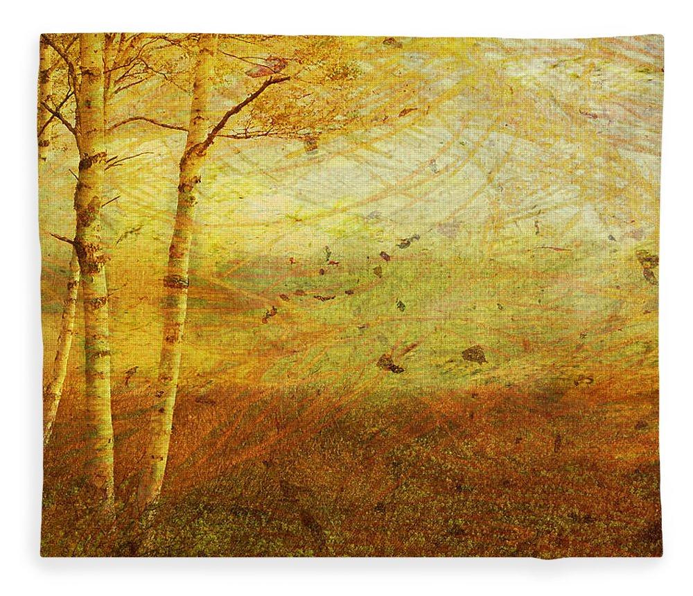 Autumn Fleece Blanket featuring the digital art Autumn Breeze by Ken Walker