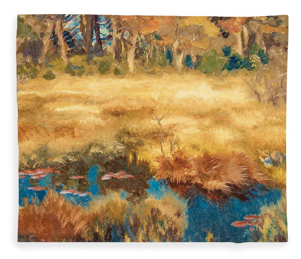Swedish Art Fleece Blanket featuring the painting Autumn Landscape With Fox by Bruno Liljefors