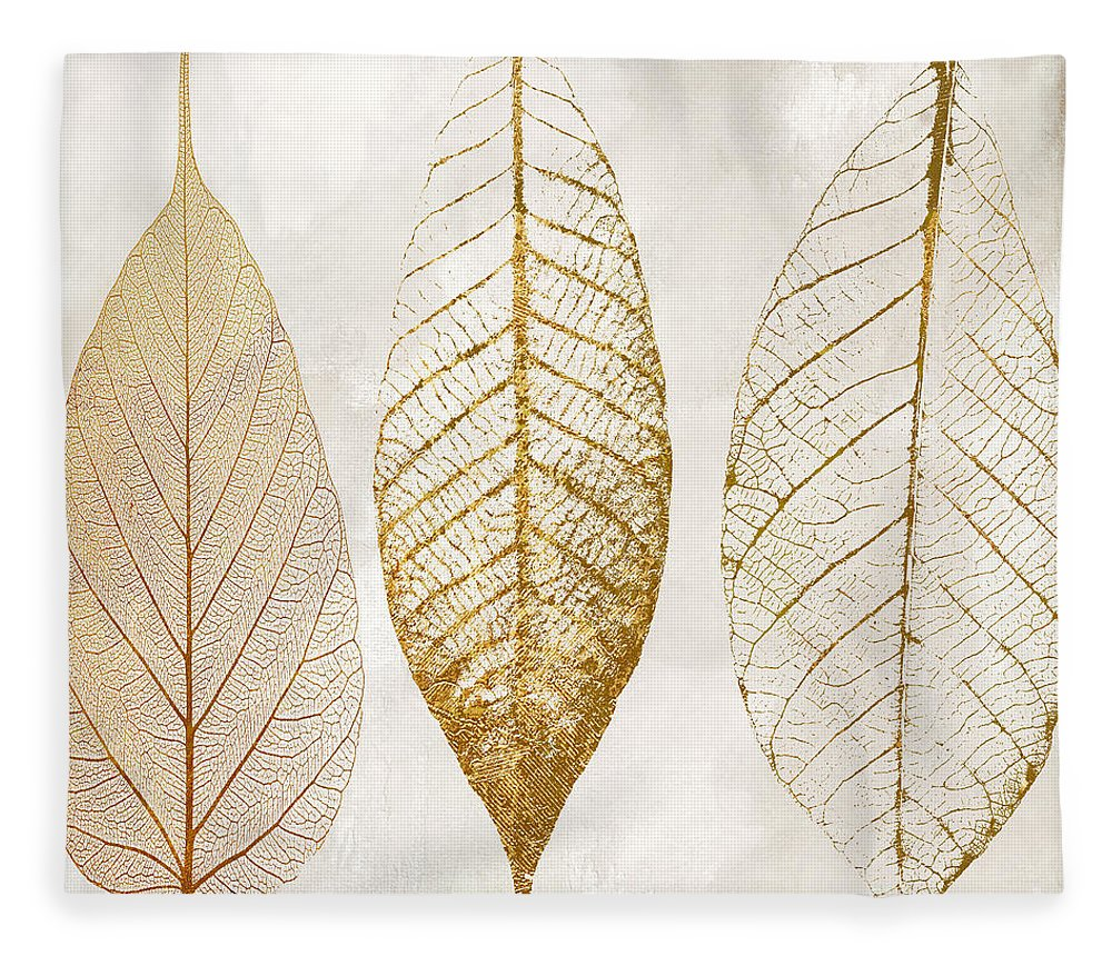 Leaf Fleece Blanket featuring the painting Autumn Leaves III Fallen Gold by Mindy Sommers