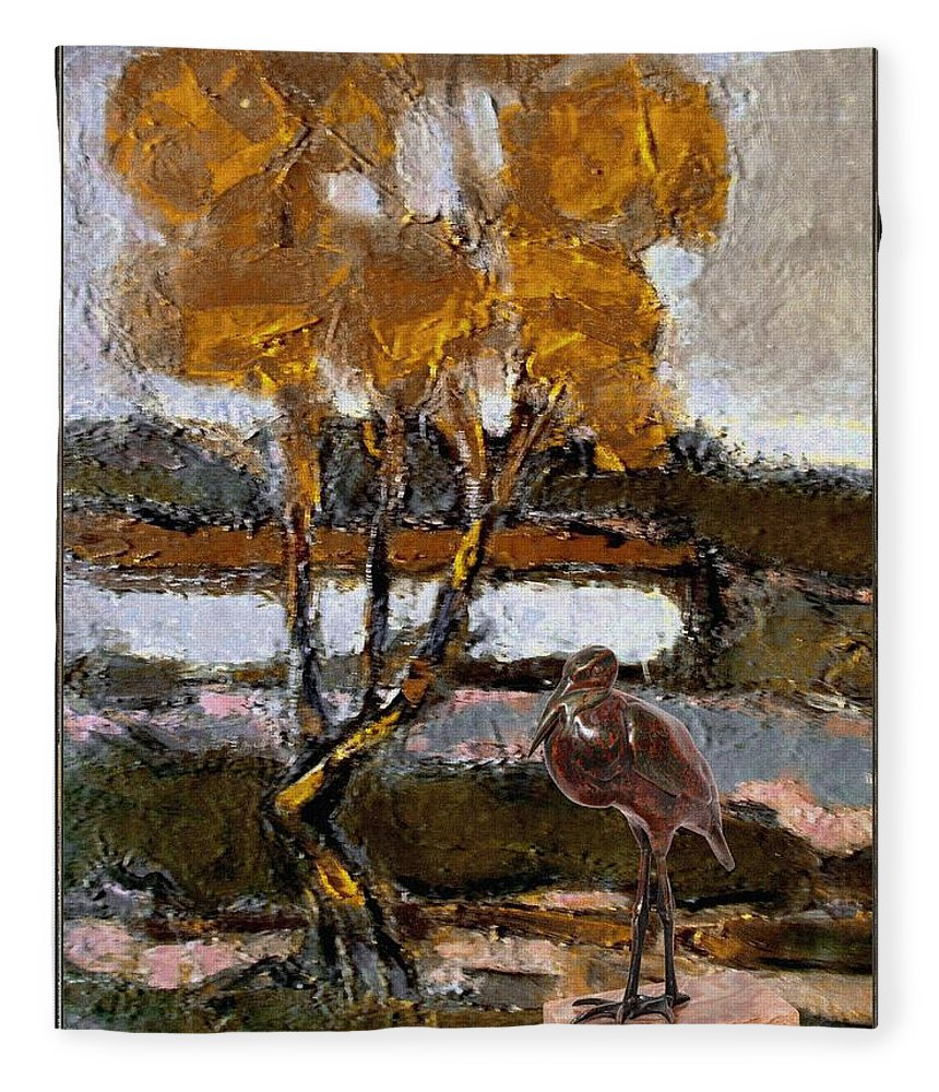 Modern Painting Fleece Blanket featuring the mixed media Autumn Motive 6 by Pemaro