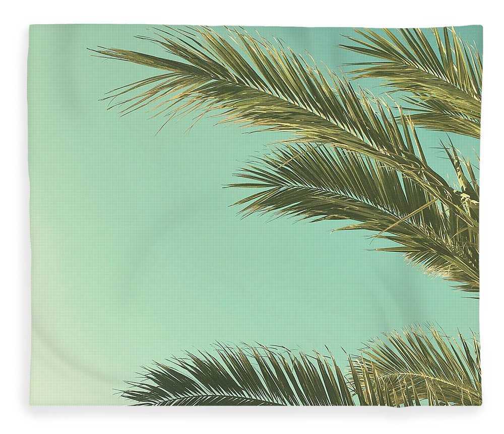 Palm Trees Fleece Blanket featuring the photograph Autumn Palms II by Cassia Beck