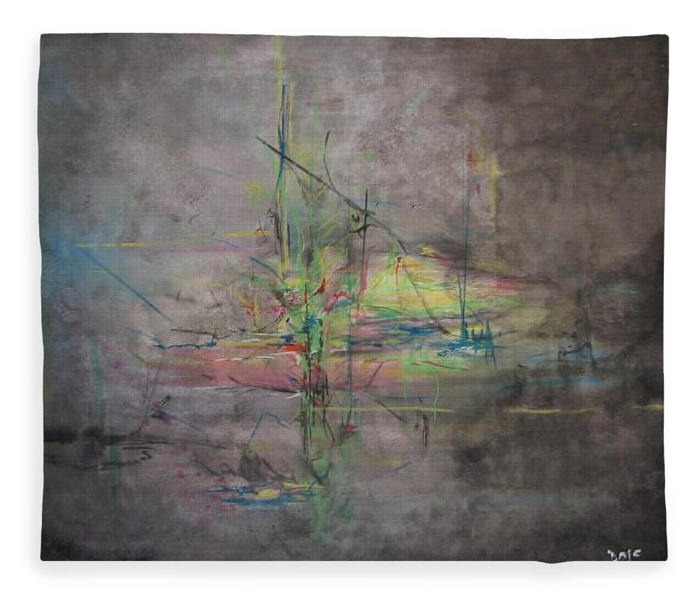 Abstract Fleece Blanket featuring the painting Awakening Abstract 1 Black Background Bright Detail by Lizzy Forrester