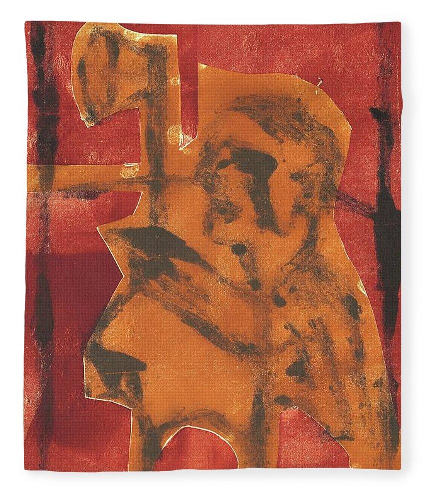 Axeman Fleece Blanket featuring the relief Axeman 11 by Artist Dot
