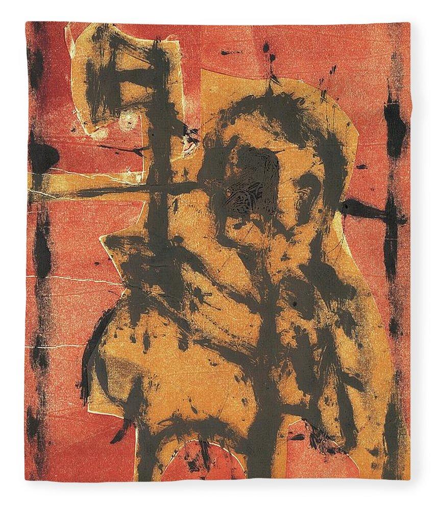 Axeman Fleece Blanket featuring the relief Axeman 2 by Artist Dot