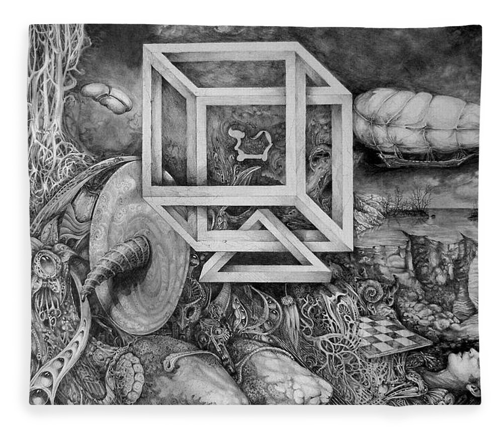 Drawing Fleece Blanket featuring the drawing Axis Mundi by Otto Rapp