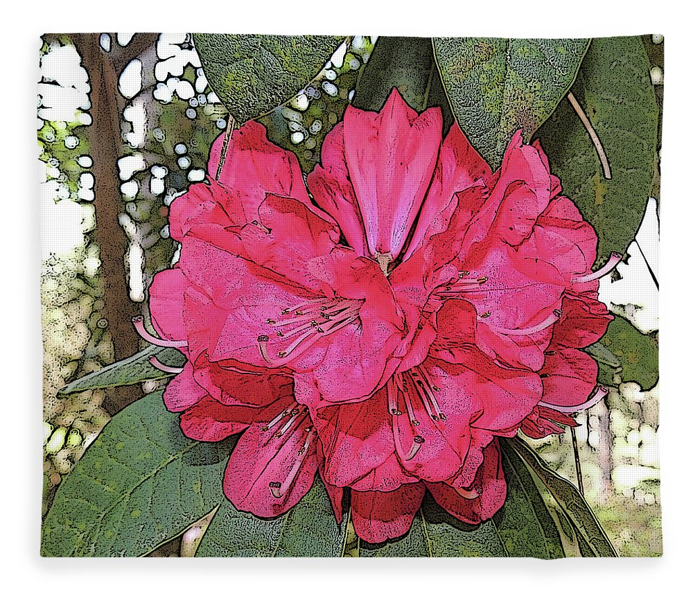 Photography Fleece Blanket featuring the digital art Azalea Cluster Close-up With Poster Edges by Marian Bell
