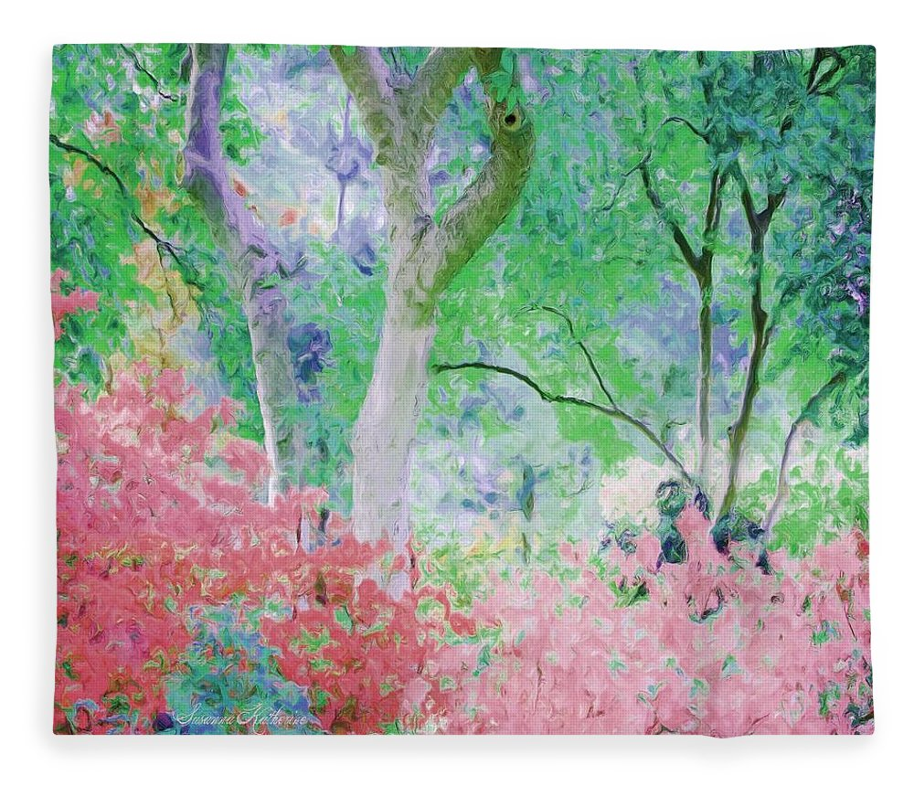 Flowers Fleece Blanket featuring the painting Azalea Flowers And Tree Coral by Susanna Katherine