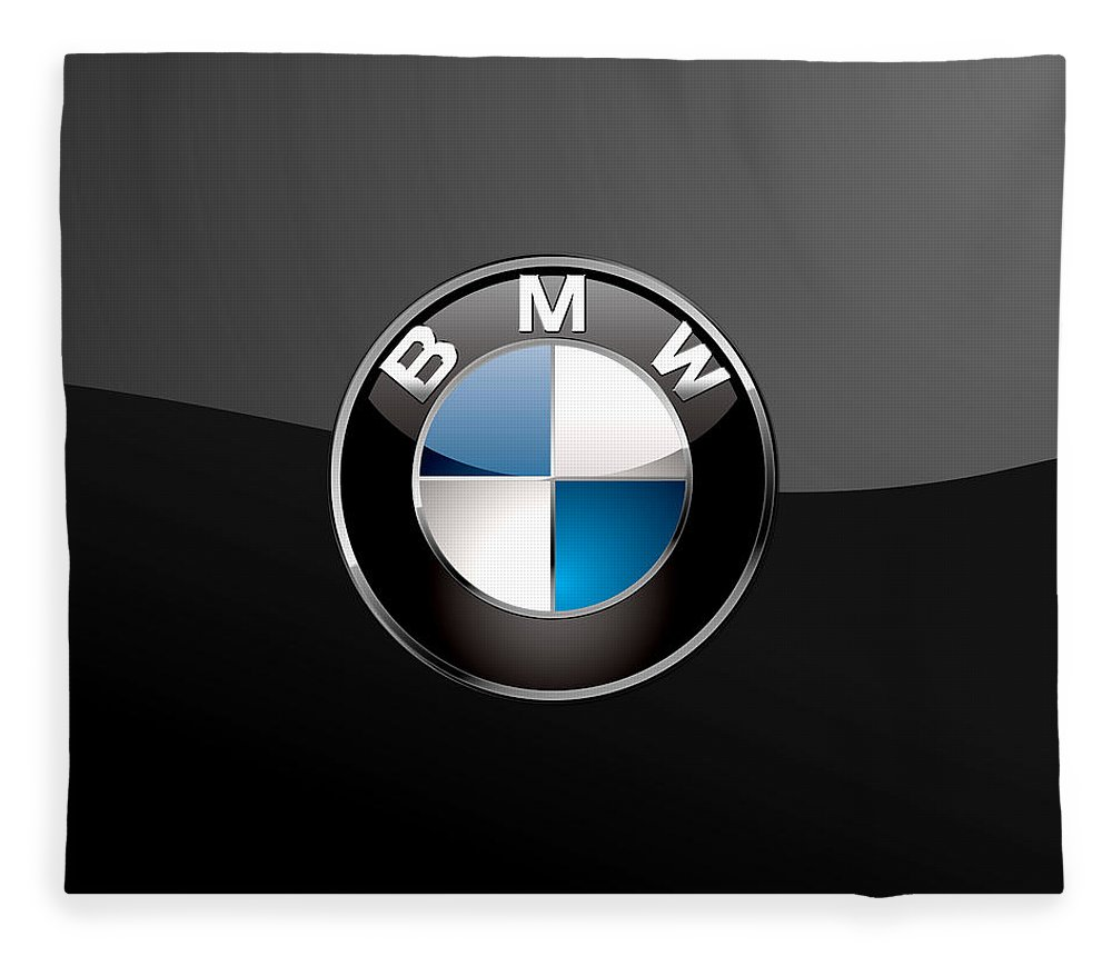 �wheels Of Fortune� Collection By Serge Averbukh Fleece Blanket featuring the photograph B M W 3 D Badge on Black by Serge Averbukh