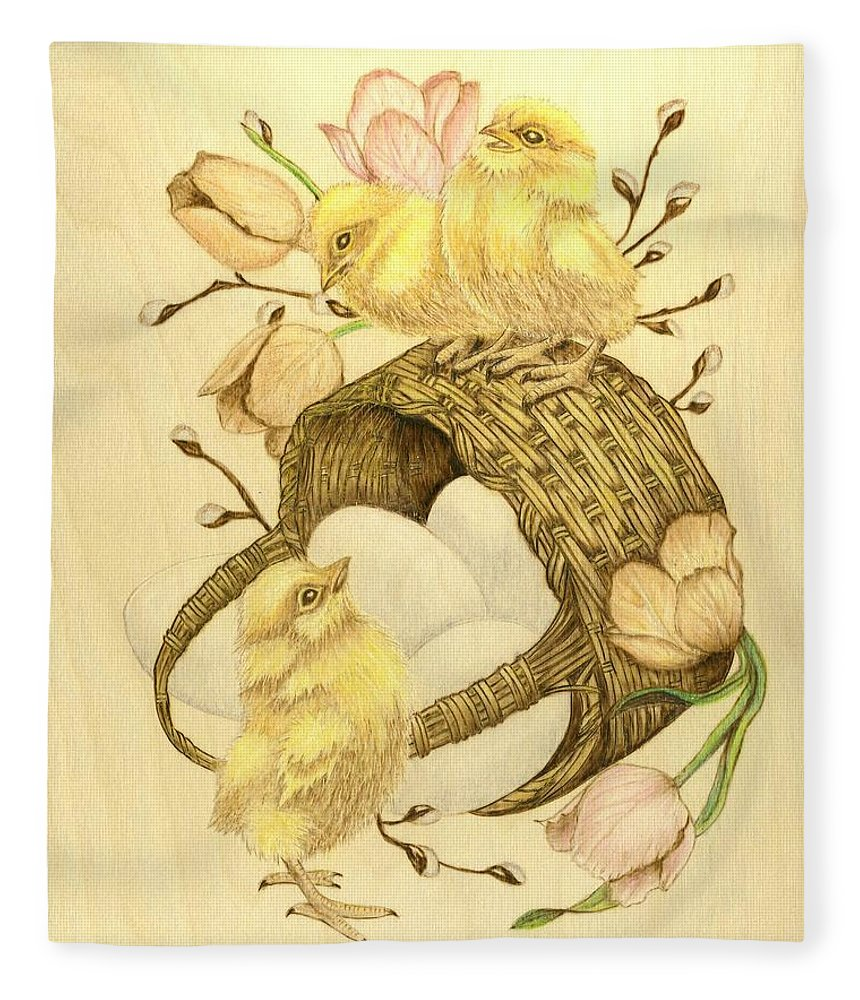 Chicks Fleece Blanket featuring the pyrography Baby Chicks by Danette Smith