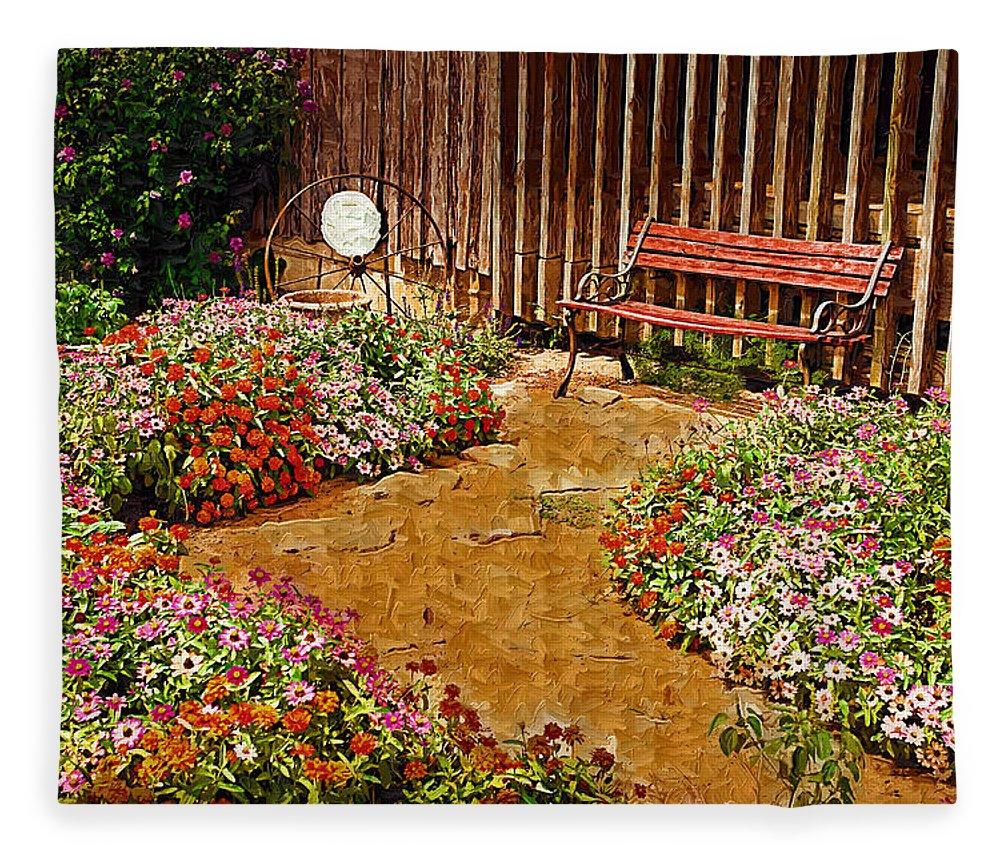 Pink Flower Fleece Blanket featuring the digital art Backyard Garden by Paul Bartoszek