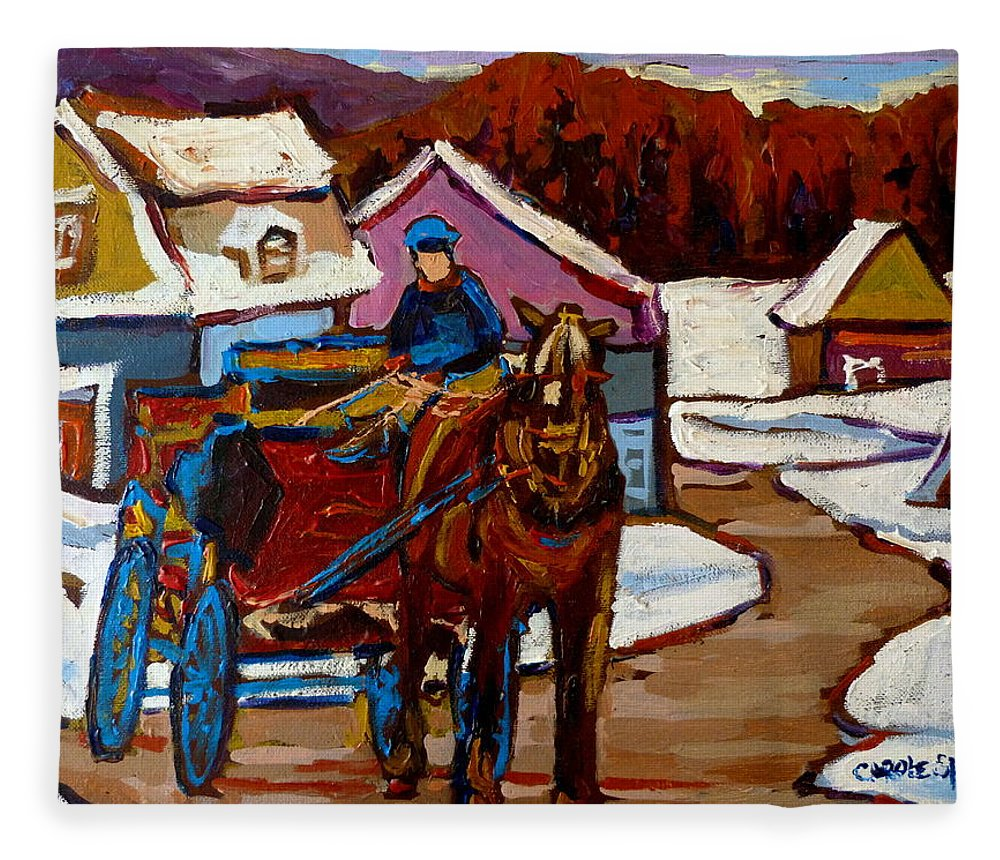 Horses Fleece Blanket featuring the painting Baie Saint Paul Quebec Country Scene by Carole Spandau