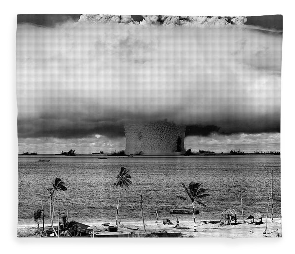 0bf95ce9c7 atom Bomb Fleece Blanket featuring the photograph Baker Hydrogen Bomb - Bikini  Atoll - July 1946