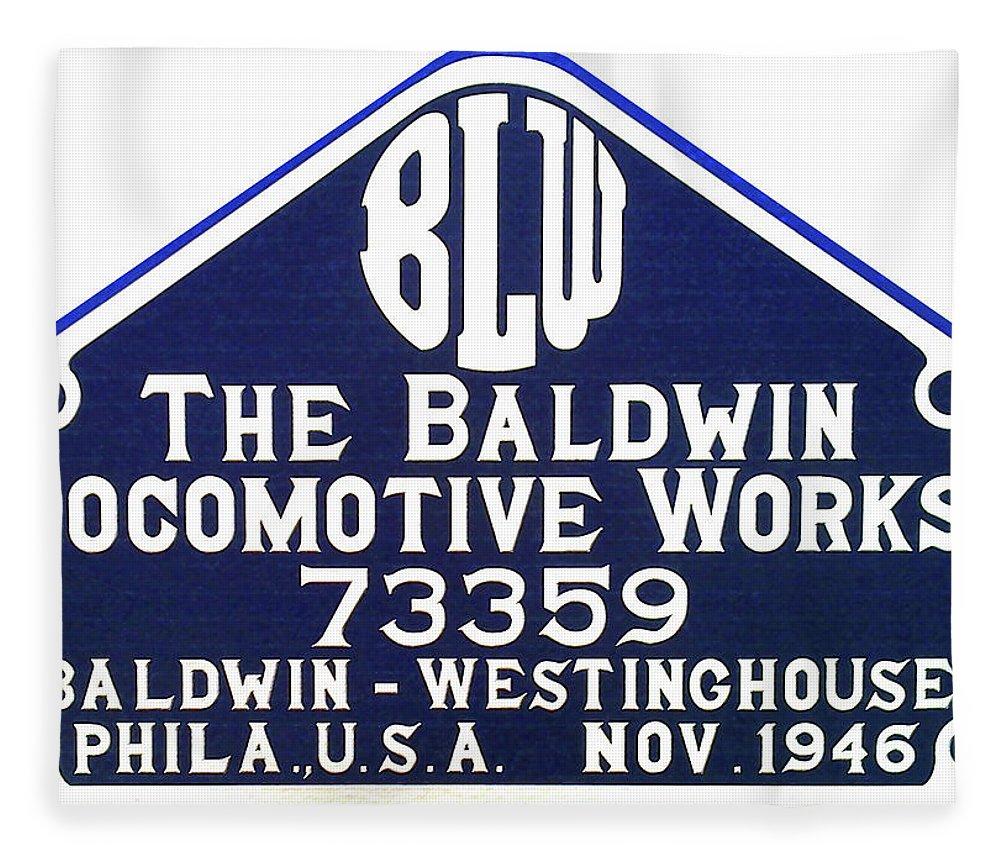 Baldwin Fleece Blanket featuring the photograph Baldwin Diesel Builders Plate by Pat Turner