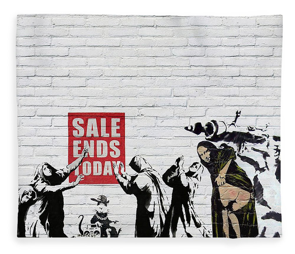 �urban Graffiti� By Serge Averbukh Fleece Blanket featuring the photograph Banksy - Saints and Sinners  by Serge Averbukh