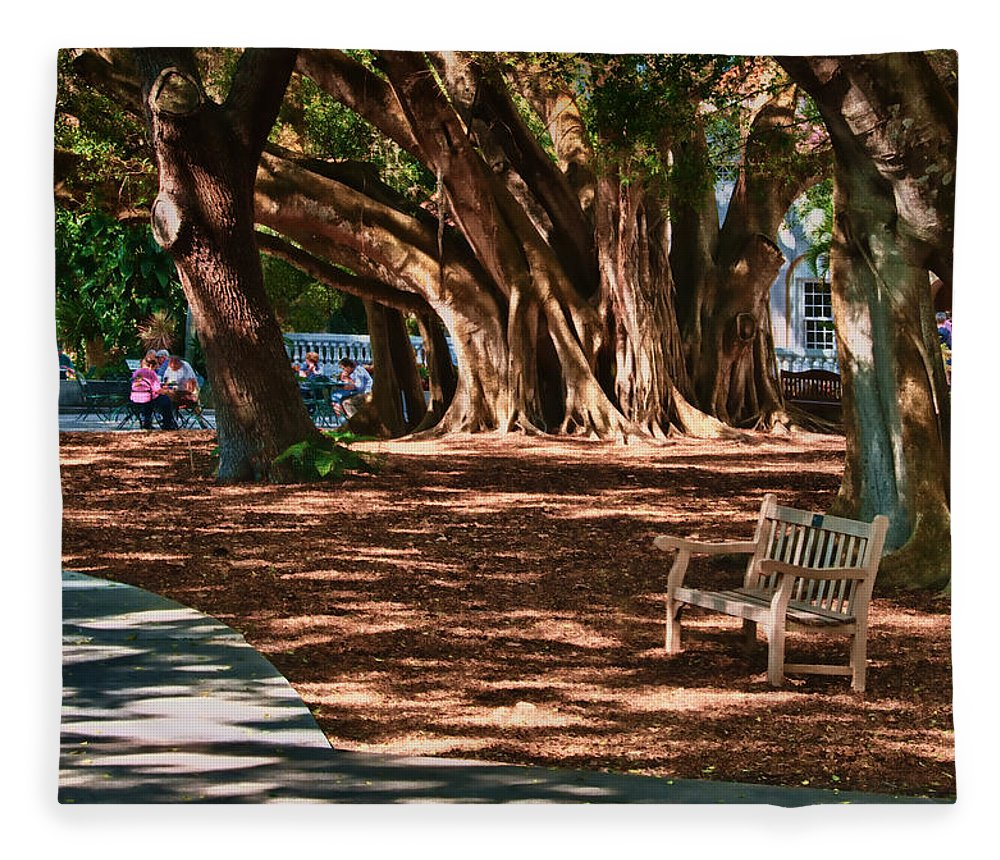 Banyan Fleece Blanket featuring the photograph Banyans - Marie Selby Botanical Gardens by Mitch Spence