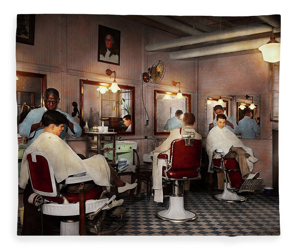 Barber Art Fleece Blanket featuring the photograph Barber - Senators-only Barbershop 1937 by Mike Savad