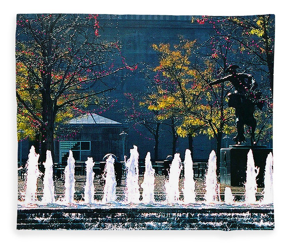 Landscape Fleece Blanket featuring the photograph Barney Allis Plaza-kansas City by Steve Karol