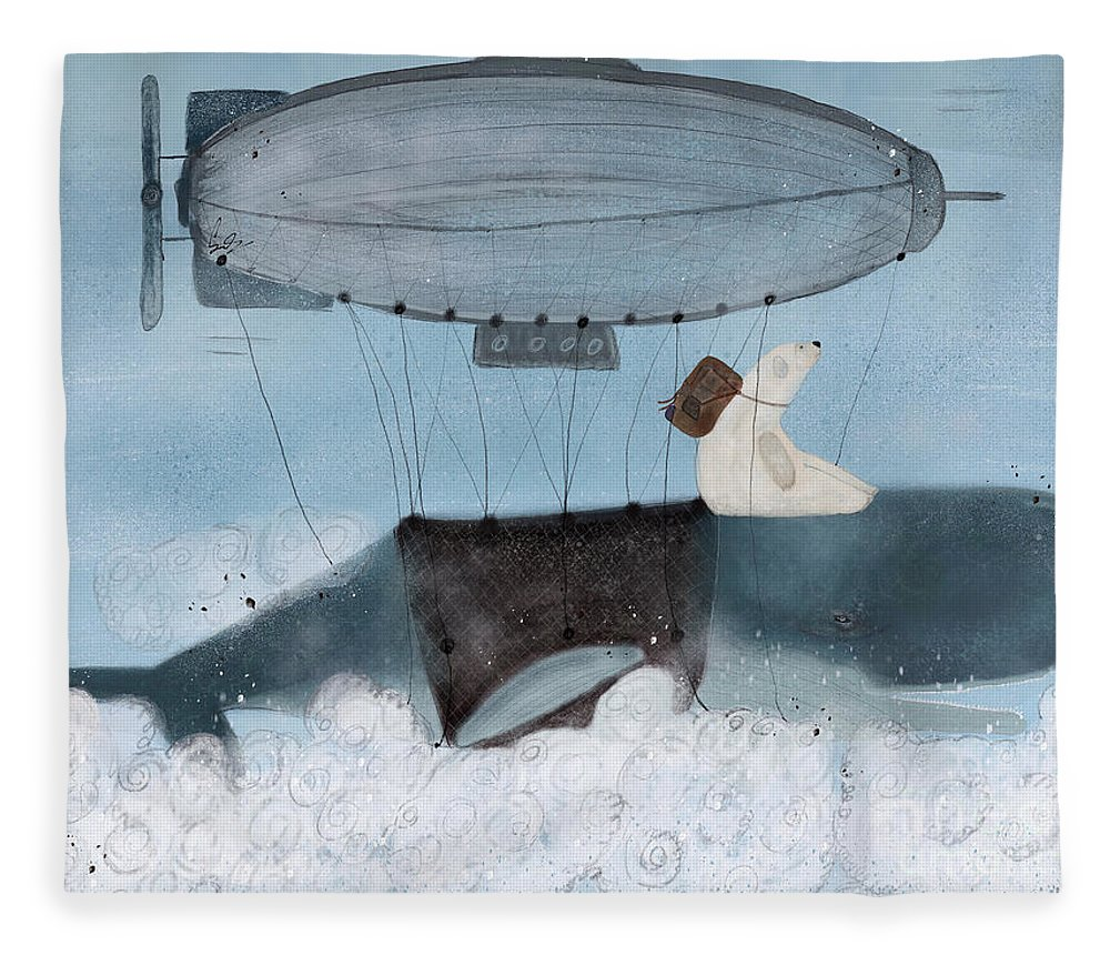 Whales Fleece Blanket featuring the painting Barney And The Whale by Bri Buckley