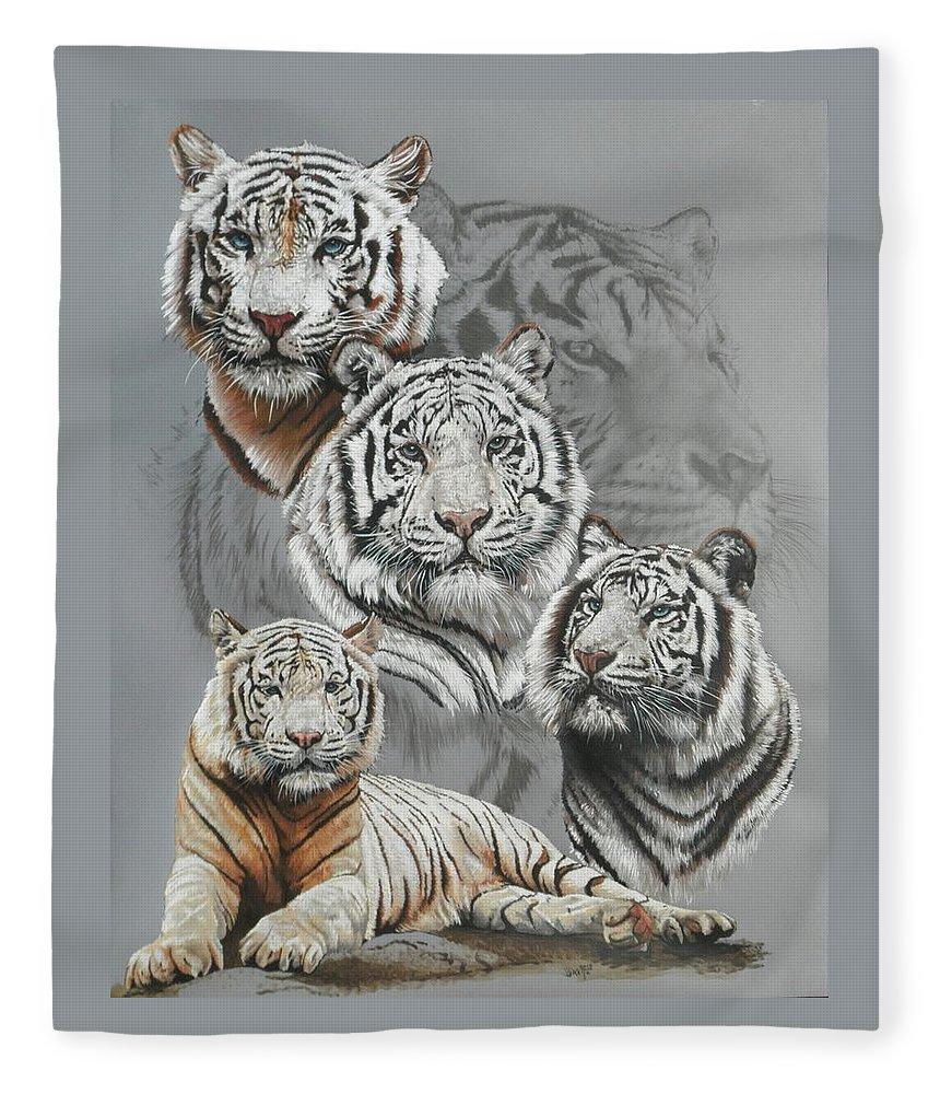 Tiger Fleece Blanket featuring the mixed media Baron by Barbara Keith