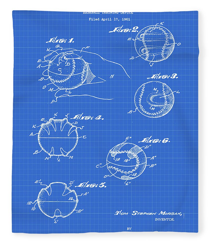 Baseball Fleece Blanket featuring the photograph Baseball Training Device Patent 1961 Blueprint by Bill Cannon
