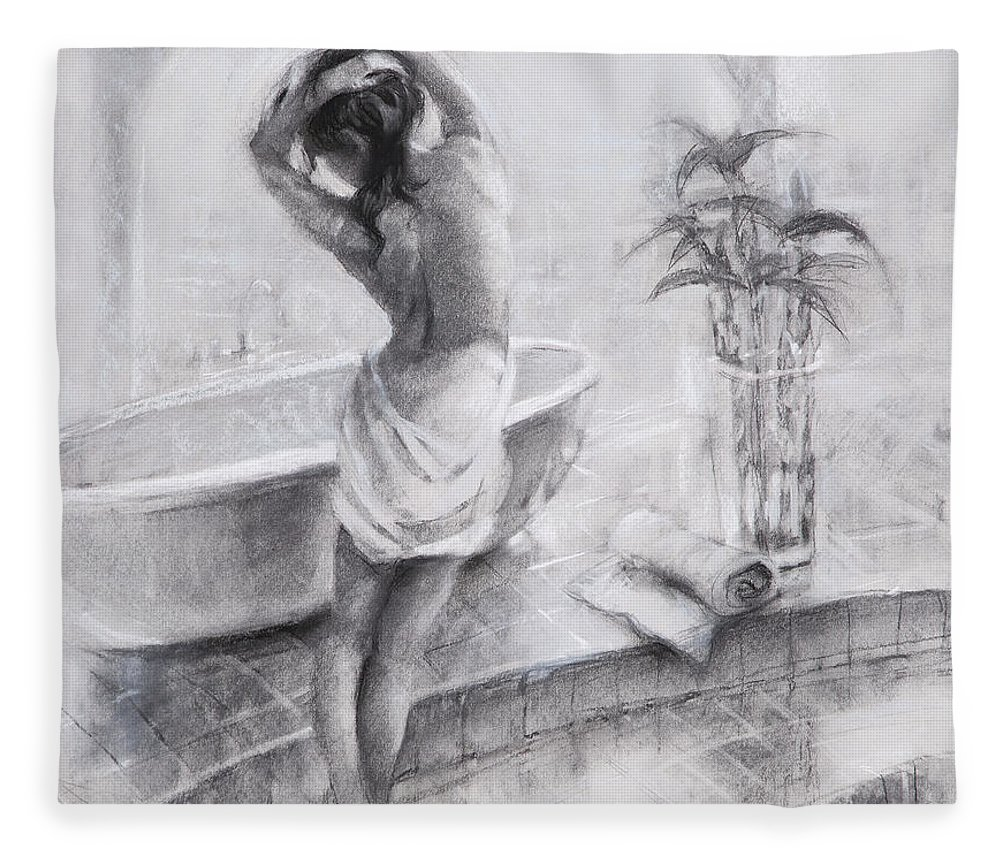 Bath Fleece Blanket featuring the painting Bathed In Light by Steve Henderson