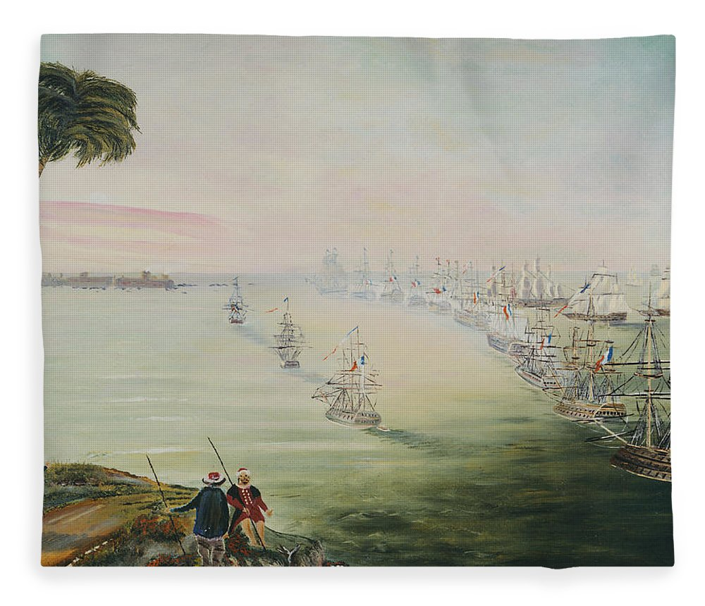 Sea Battle Fleece Blanket featuring the painting Battle Of The Nile by Richard Barham