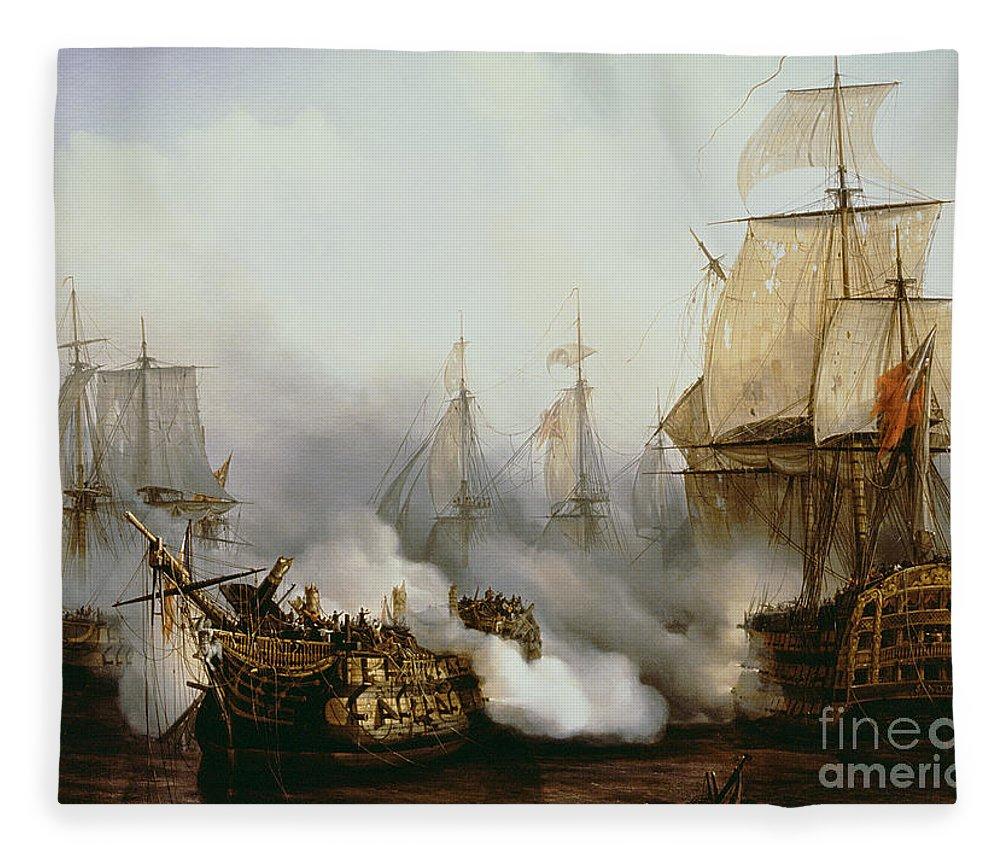 Battle Of Trafalgar By Louis Philippe Crepin Fleece Blanket featuring the painting Battle of Trafalgar by Louis Philippe Crepin