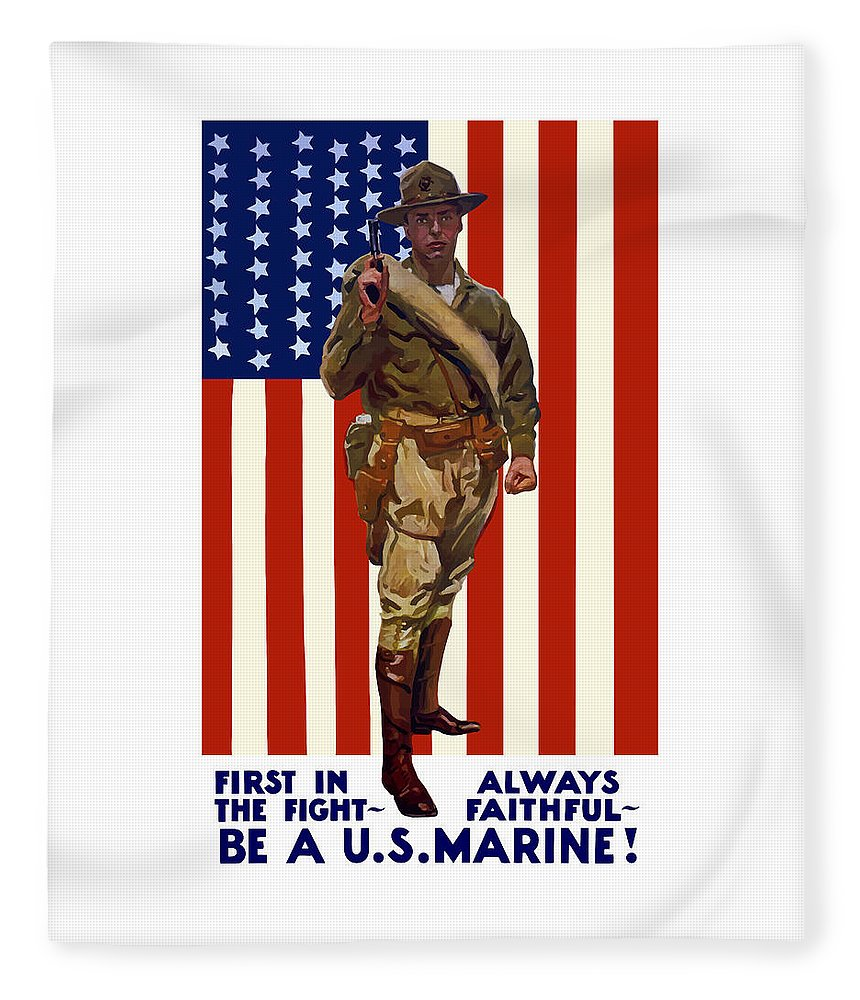Marine Corps Fleece Blanket featuring the painting Be A Us Marine by War Is Hell Store