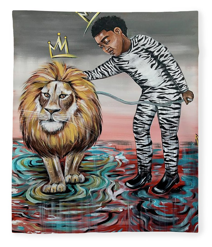 Son Fleece Blanket featuring the painting Be Courageous My Son by Artist RiA