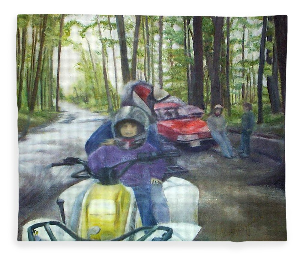 Quad Fleece Blanket featuring the painting Be Right Back by Sheila Mashaw